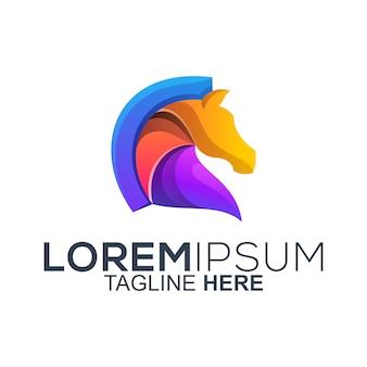 Vecteur de conception de logo de cheval coloré