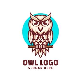 Vecteur de conception de logo chouette mignon