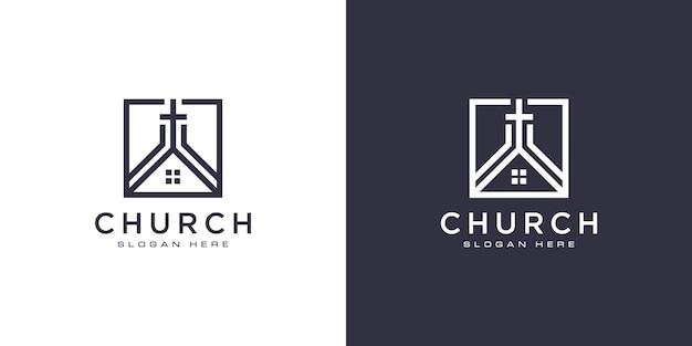Vecteur de conception de logo chrétien église