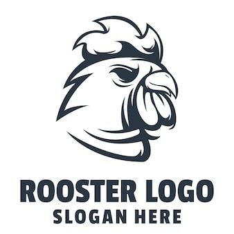 Vecteur de conception de logo en colère coq
