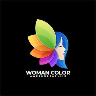 Vecteur de conception de logo coloré femme