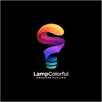 Vecteur de conception de logo coloré lampe