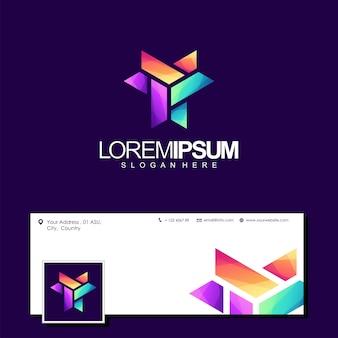 Vecteur de conception de logo coloré lettre y