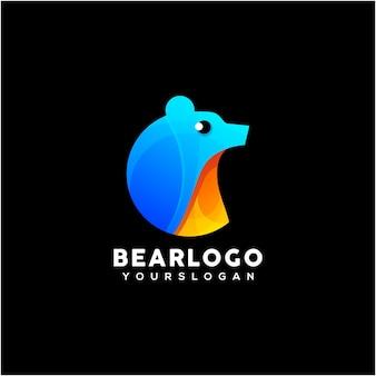 Vecteur de conception de logo coloré ours créatif