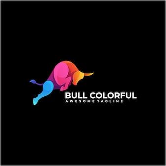 Vecteur de conception de logo coloré de taureau