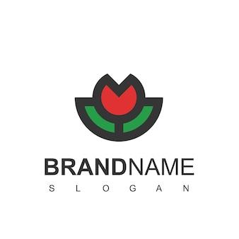 Vecteur de conception de logo contour rose