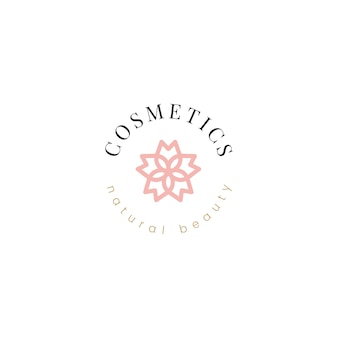 Vecteur de conception de logo de cosmétiques naturels