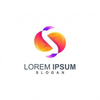Vecteur de conception de logo couleur poisson