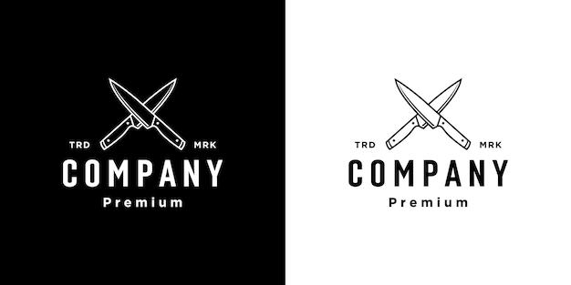 Vecteur de conception de logo de couteau de boucher