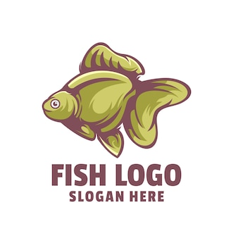 Vecteur de conception de logo de dessin animé de poisson