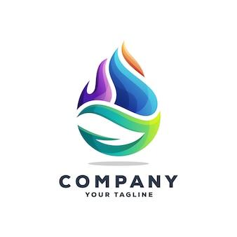 Vecteur de conception de logo eau génial goutte