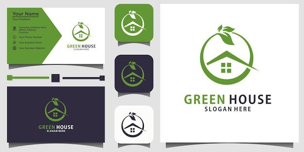 Vecteur de conception de logo à effet de serre nature