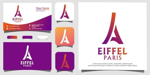 Vecteur de conception de logo eiffel paris