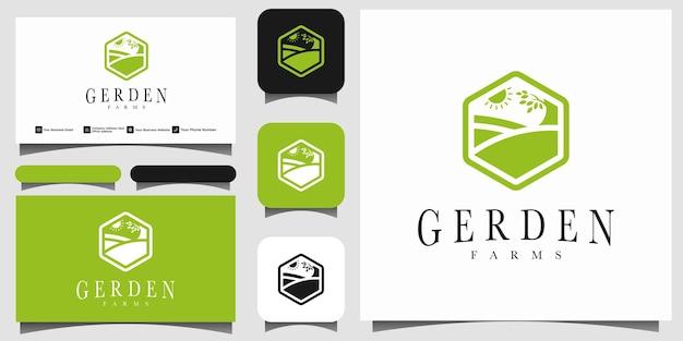 Vecteur de conception de logo emblème jardin nature