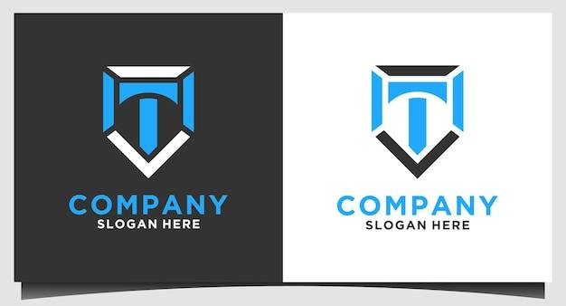 Vecteur de conception de logo emblème lettre t