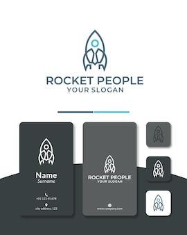 Vecteur de conception de logo d'entreprise de fusée de personnes