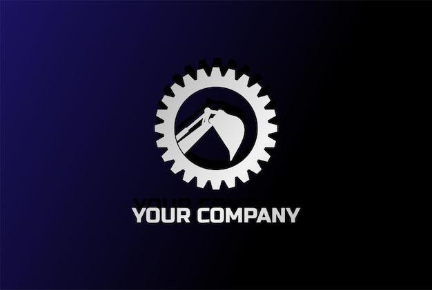Vecteur de conception de logo d'exploitation minière pelle rétro pelle à engrenages modernes