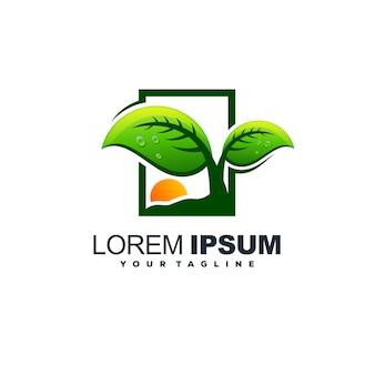 Vecteur de conception de logo feuille arbre impressionnant