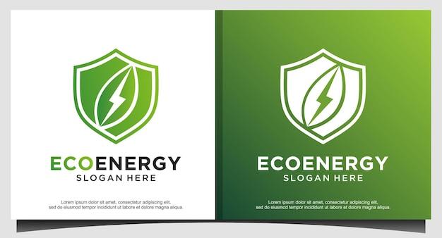 Vecteur de conception de logo de feuille d'énergie tech