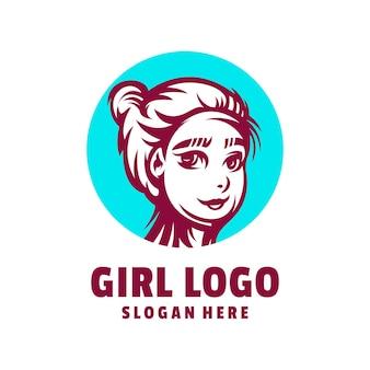Vecteur de conception de logo de fille