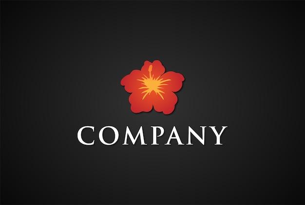 Vecteur de conception de logo de fleur d'hibiscus hawaïen minimaliste simple