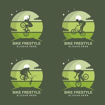 Vecteur de conception de logo de freestyle de vélo avec des nuages de lune et d'étoile