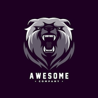 Vecteur de conception de logo génial ours