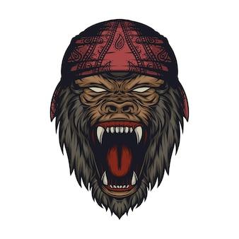 Vecteur de conception de logo de gorille monstre en colère impressionnant vecteur premium