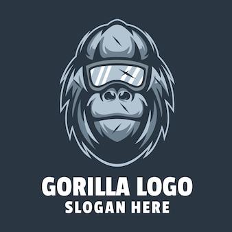 Vecteur de conception de logo de gorille de tête