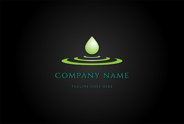 Vecteur de conception de logo de goutte d'huile liquide aqua eau pure