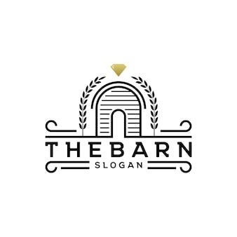 Vecteur de conception de logo de grange rustique rétro vintage avec diamant dans le style d'art en ligne