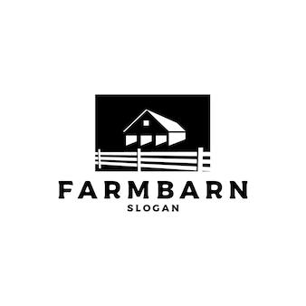 Vecteur de conception de logo de grange vintage rétro silhouette rustique
