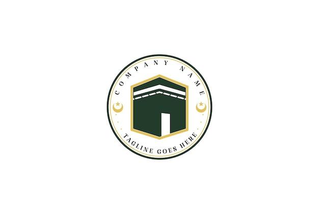 Vecteur de conception de logo de hajj musulman kaaba minimaliste simple