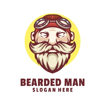 Vecteur de conception de logo homme barbu