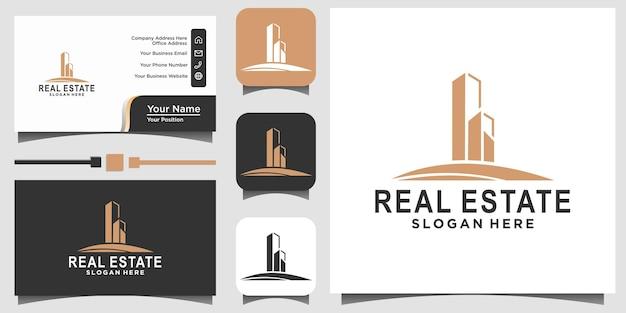 Vecteur de conception de logo immobilier de luxe avec fond de carte de visite modèle