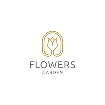 Vecteur de conception de logo jardin de fleurs