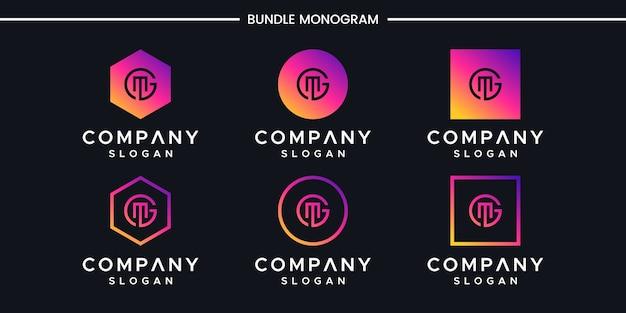 Vecteur de conception de logo lettre gm
