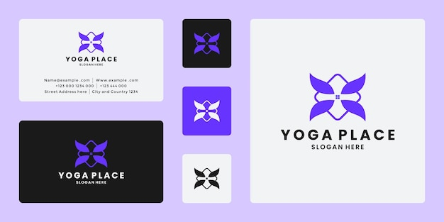 Vecteur de conception de logo de lieu de yoga minimaliste