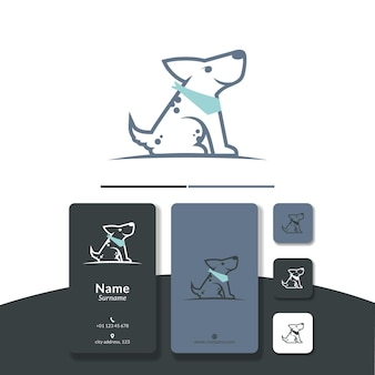 Vecteur de conception de logo de ligne de chien