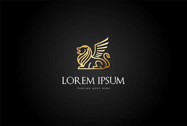 Vecteur de conception de logo de ligne de roi lion royal de luxe doré