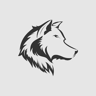 Vecteur de conception de logo de loup