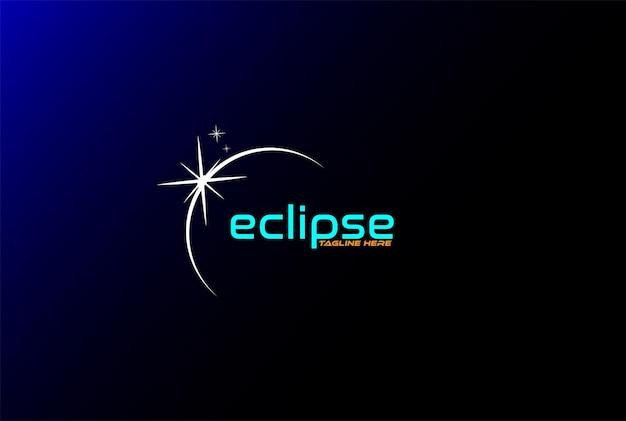 Vecteur de conception de logo de lumière lunaire eclipse minimaliste simple