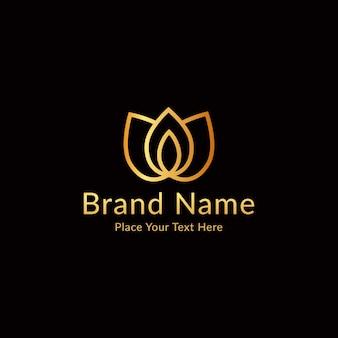 Vecteur de conception de logo de luxe spa lotus