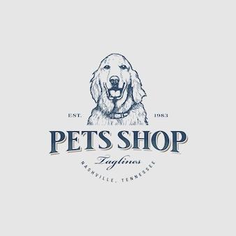 Vecteur de conception de logo de magasin d'animaux de compagnie vintage