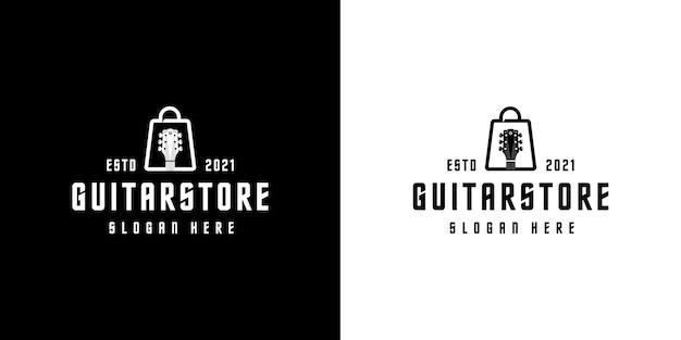 Vecteur de conception de logo de magasin de guitare