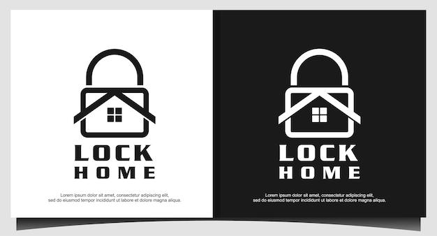 Vecteur de conception de logo maison cadenas