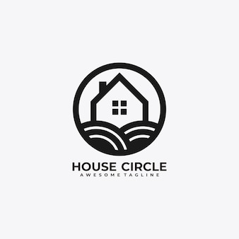 Vecteur de conception de logo maison cercle