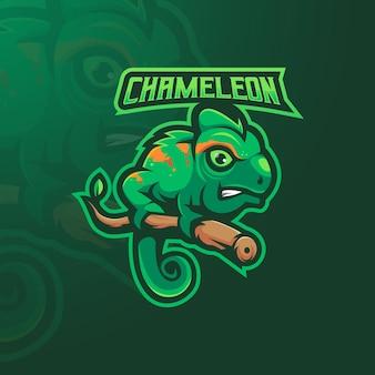 Vecteur de conception de logo de mascotte caméléon avec illustration moderne