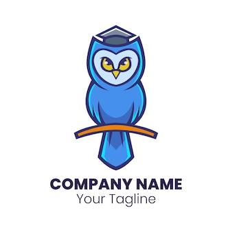 Vecteur de conception de logo mascotte chouette intelligente