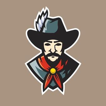 Vecteur De Conception De Logo De Mascotte De Cow-boy Vecteur Premium